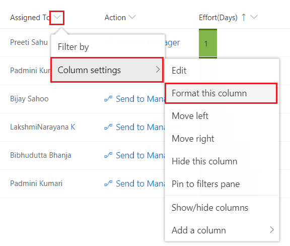 sharepoint column formatting json examples