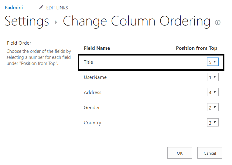 sharepoint change column order new form