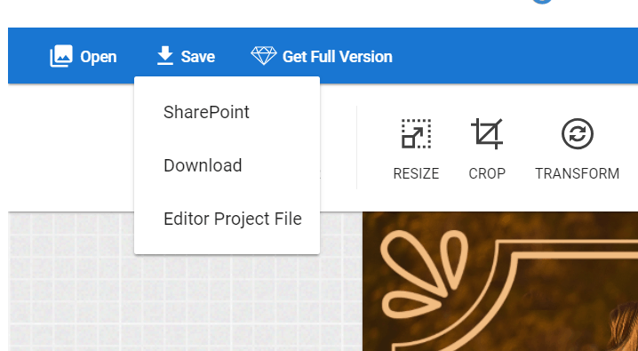 SharePoint image editor save Images
