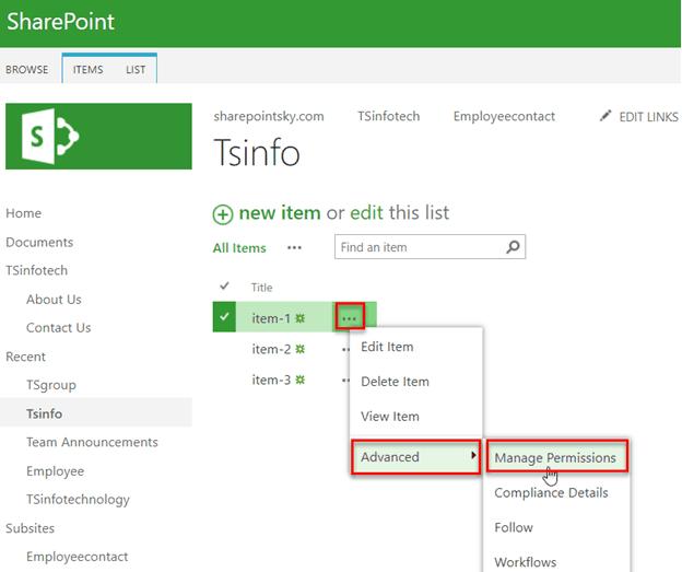 sharepoint unique permissions list items