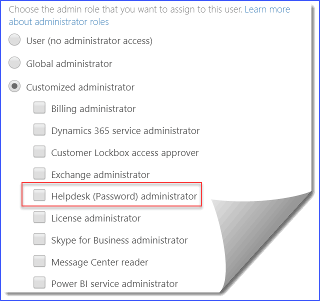 Microsoft 365 Helpdesk administrator role
