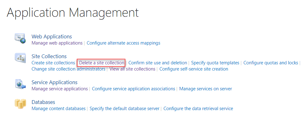 Delete SharePoint site collection
