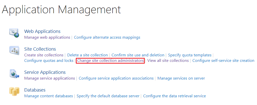SharePoint change site collection administrator