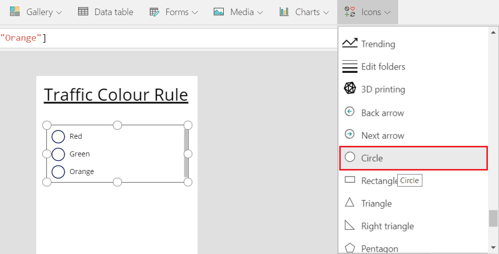 PowerApps radio button example