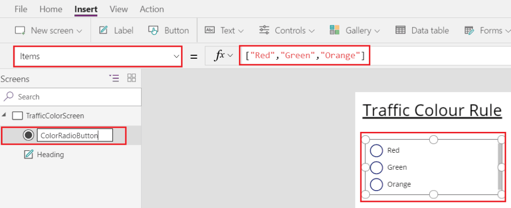 Microsoft PowerApps Radio Button Example - SharePointSky
