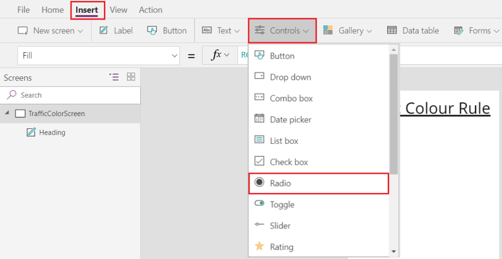 PowerApps radio button default value