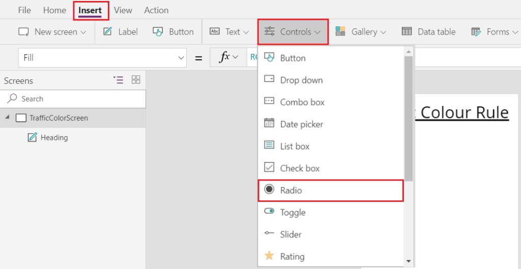 Microsoft PowerApps Radio Button Example - SharePointSky