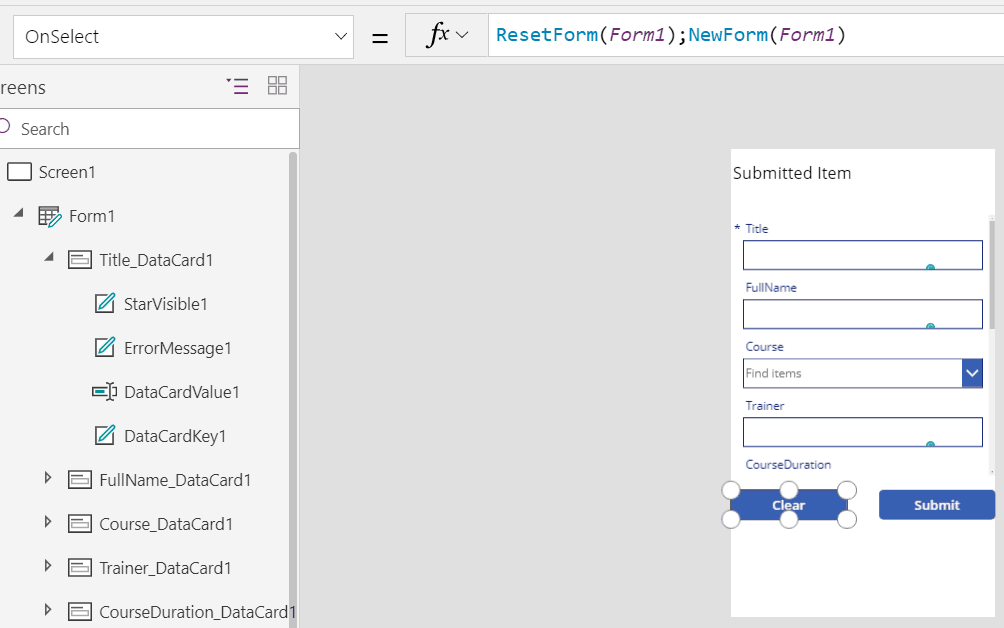 powerapps reset form