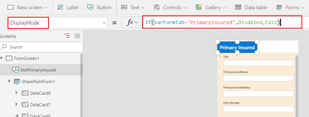 powerapps tabbed form