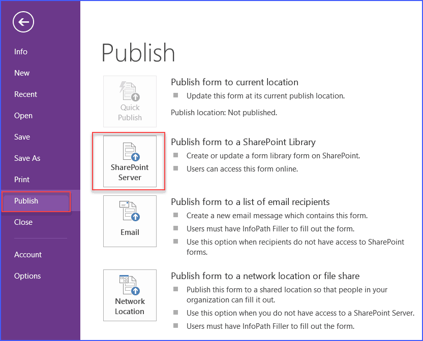 publish infopath form to sharepoint library