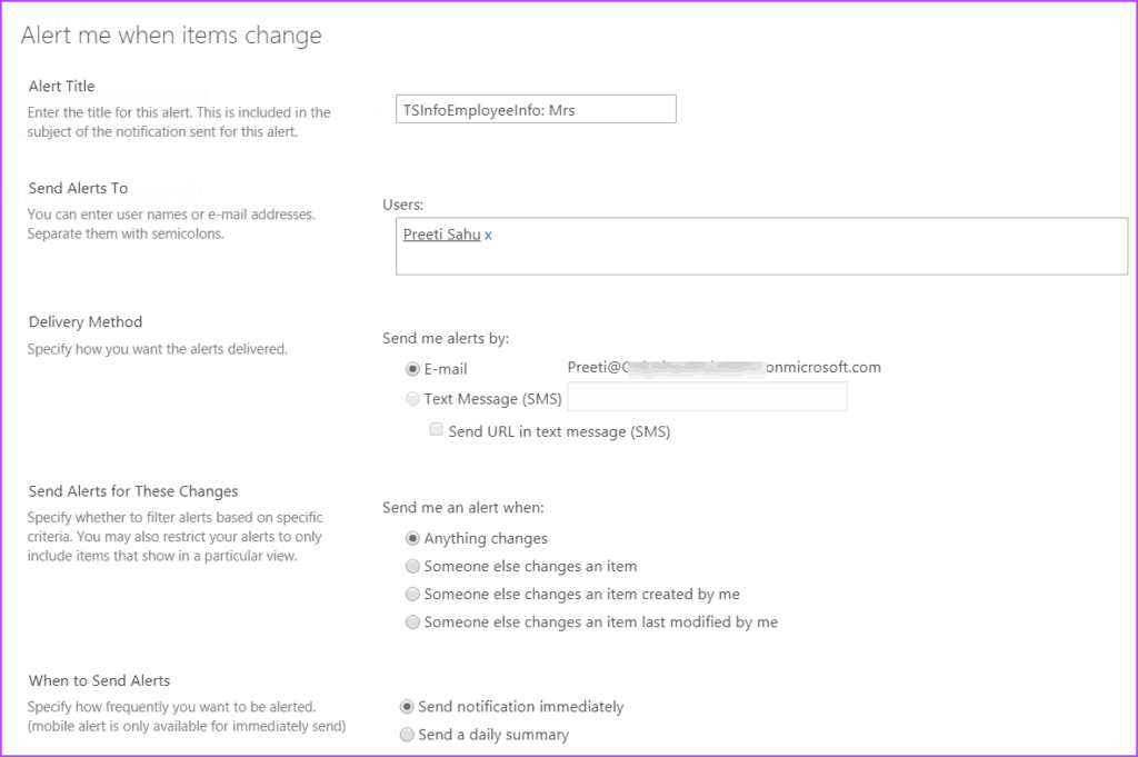 Configure Alerts at Item Level in modern sharepoint