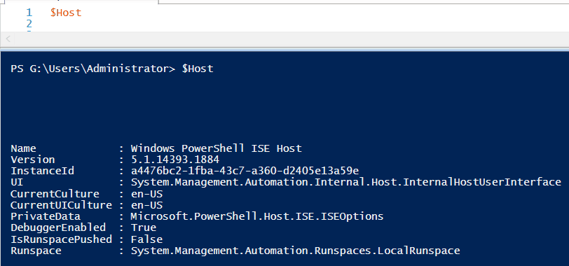 $host powershell