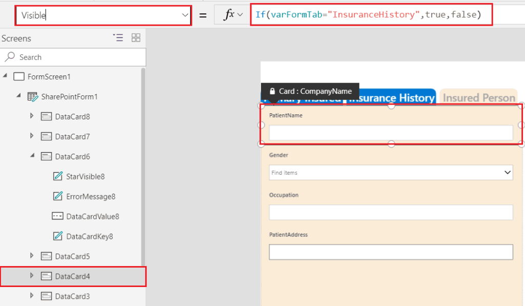 tabbed forms in powerapps