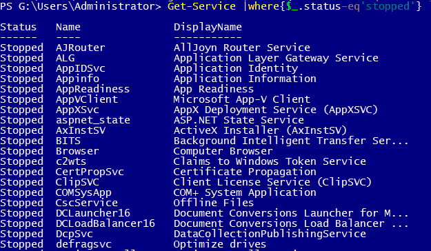 powershell get-service startup type
