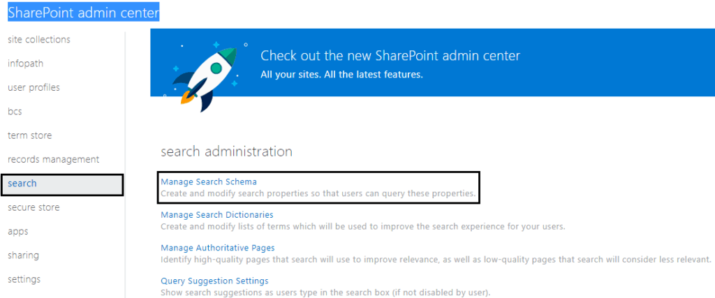 search schema in sharepoint 2013