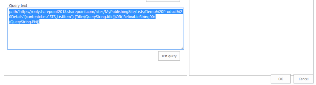 SharePoint online content search webpart