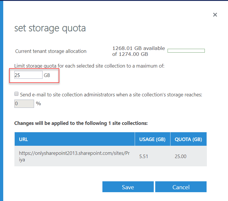 Increase SharePoint Online site collection storage quota