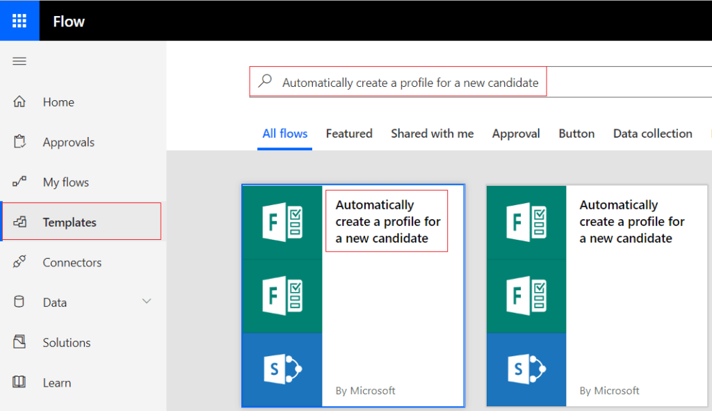 Automatically create a profile for a new candidate in Microsoft Flow