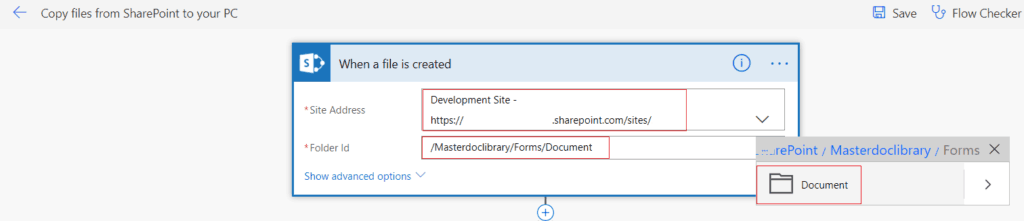 Copy files from SharePoint to your PC microsoft flow