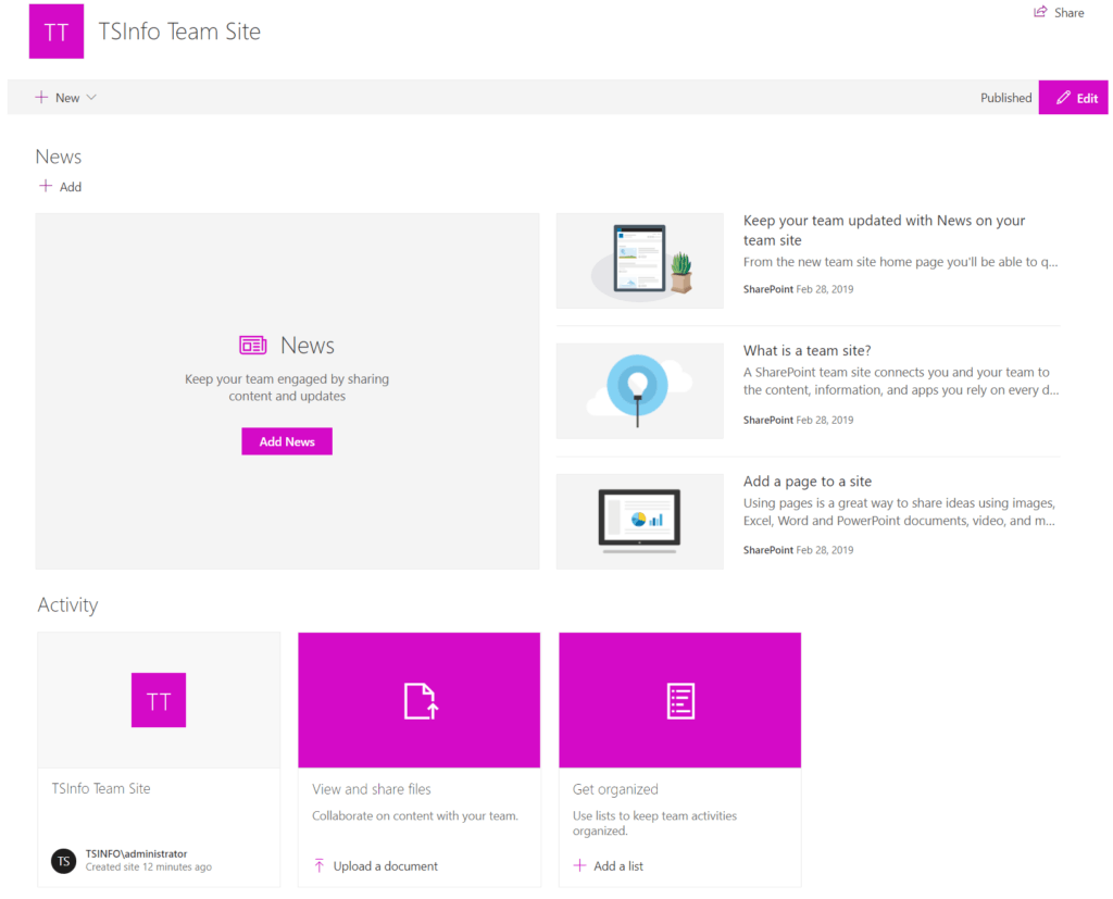 Create Modern Team Sites in SharePoint 2019