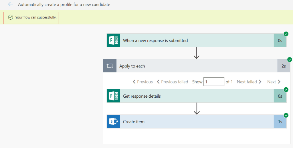 Microsoft Flow automatically create a profile for new candidate