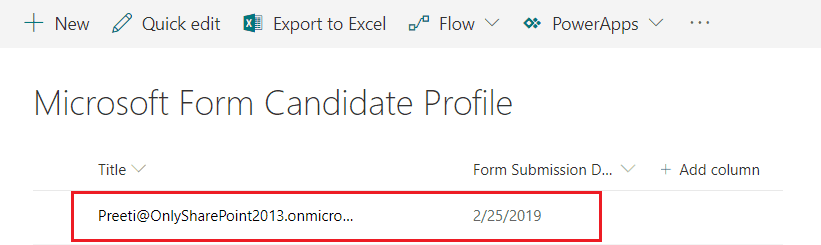 Microsoft Flow template automatically create profile for a new candidate