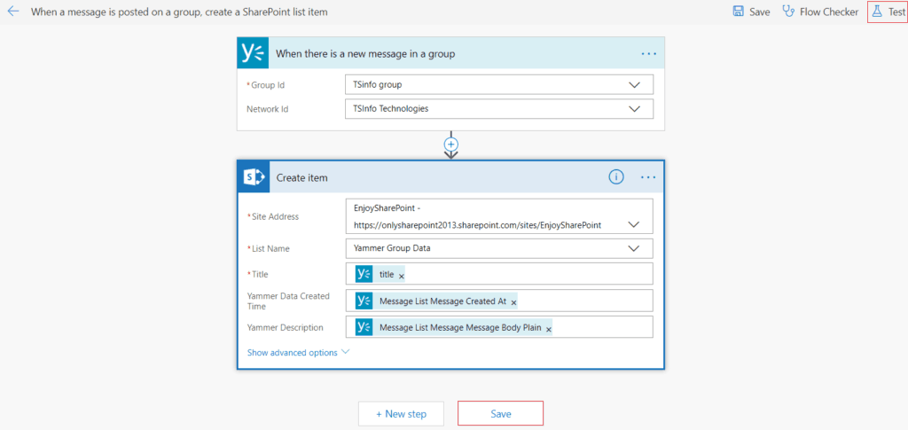 microsoft flow when a message is posted on a group create a SharePoint list item