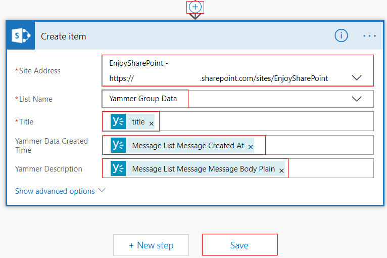 When a message is posted on group, create a SharePoint list item