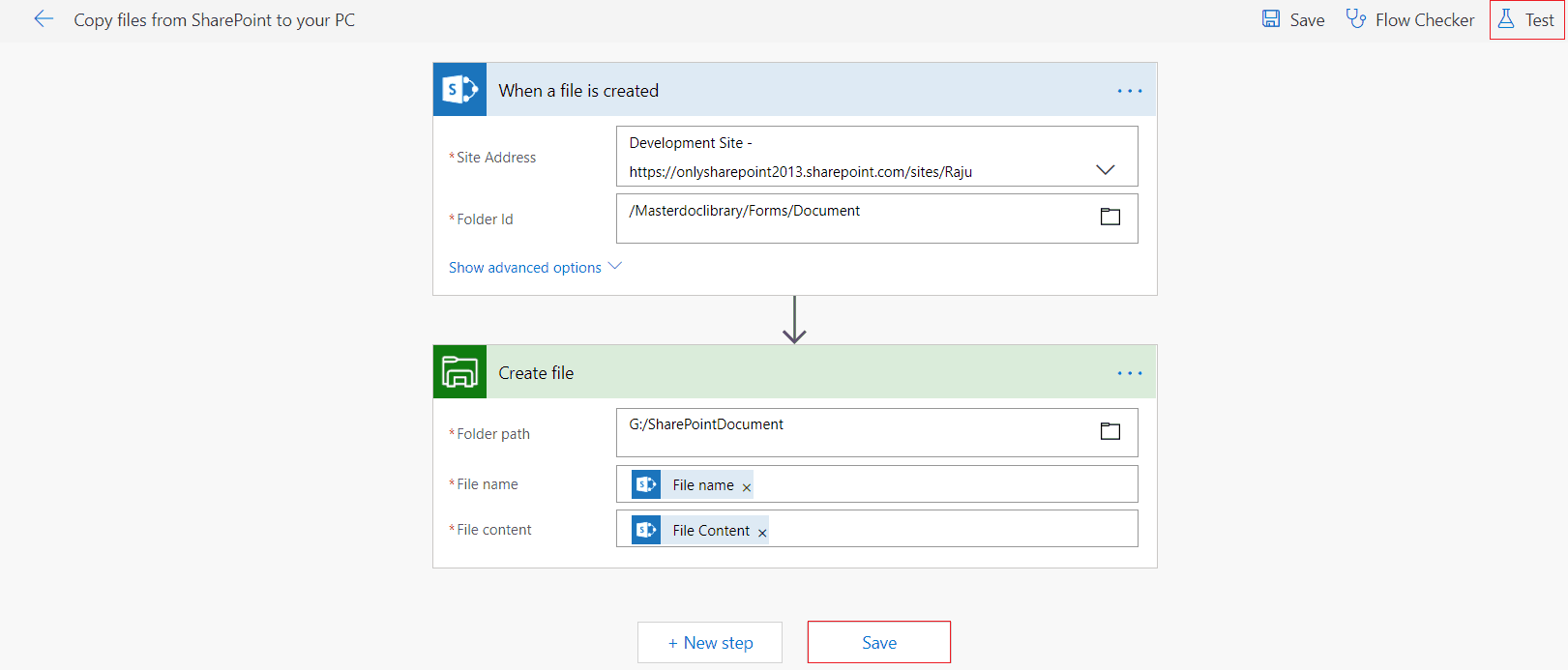 copy files from sharepoint to your pc in flow