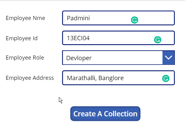 how to create PowerApps Collection on Button press