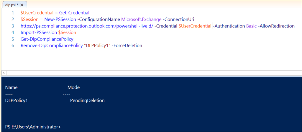 Delete DLP Policy using PowerShell Office 365 Security & Compliance Center
