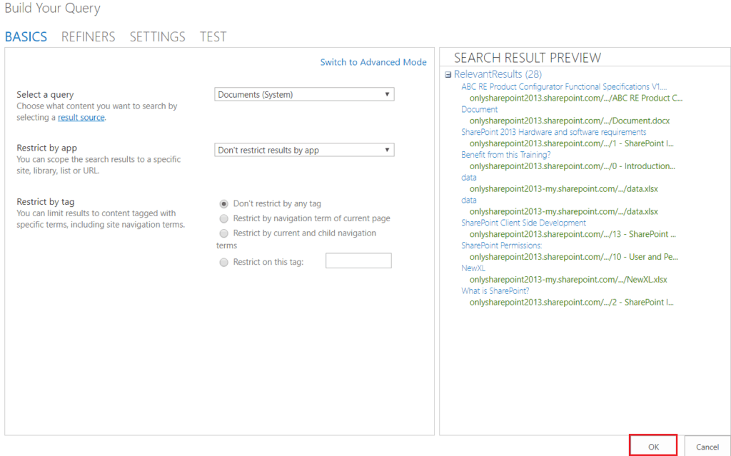 SharePoint 2013 search results