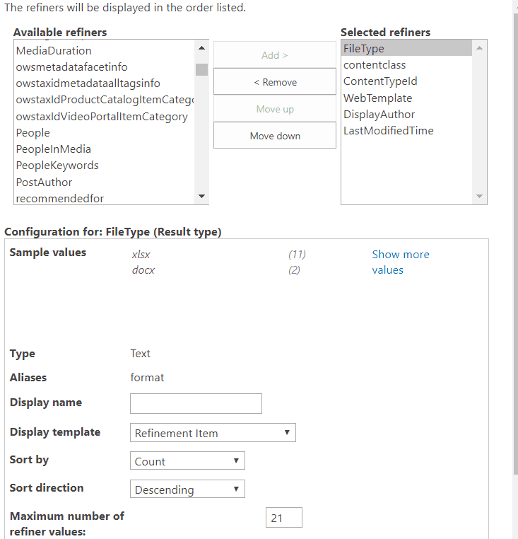 sharepoint modern search refiners