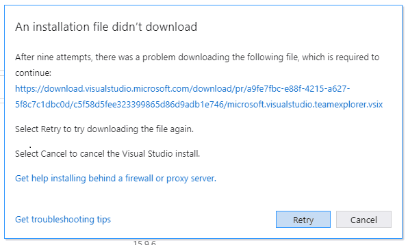 After nine attempts there was a problem downloading the following file which is required to continue