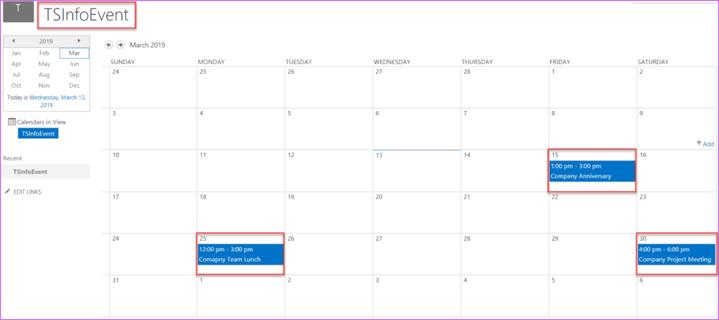 Add Calendar List in the Modern SharePoint Site Page
