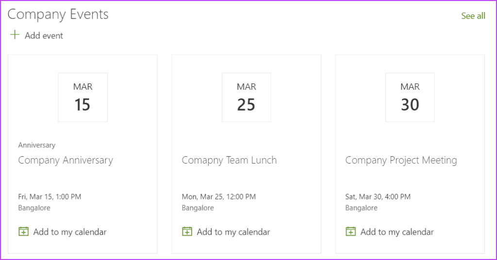 Add Calendar in the Modern SharePoint Site Page