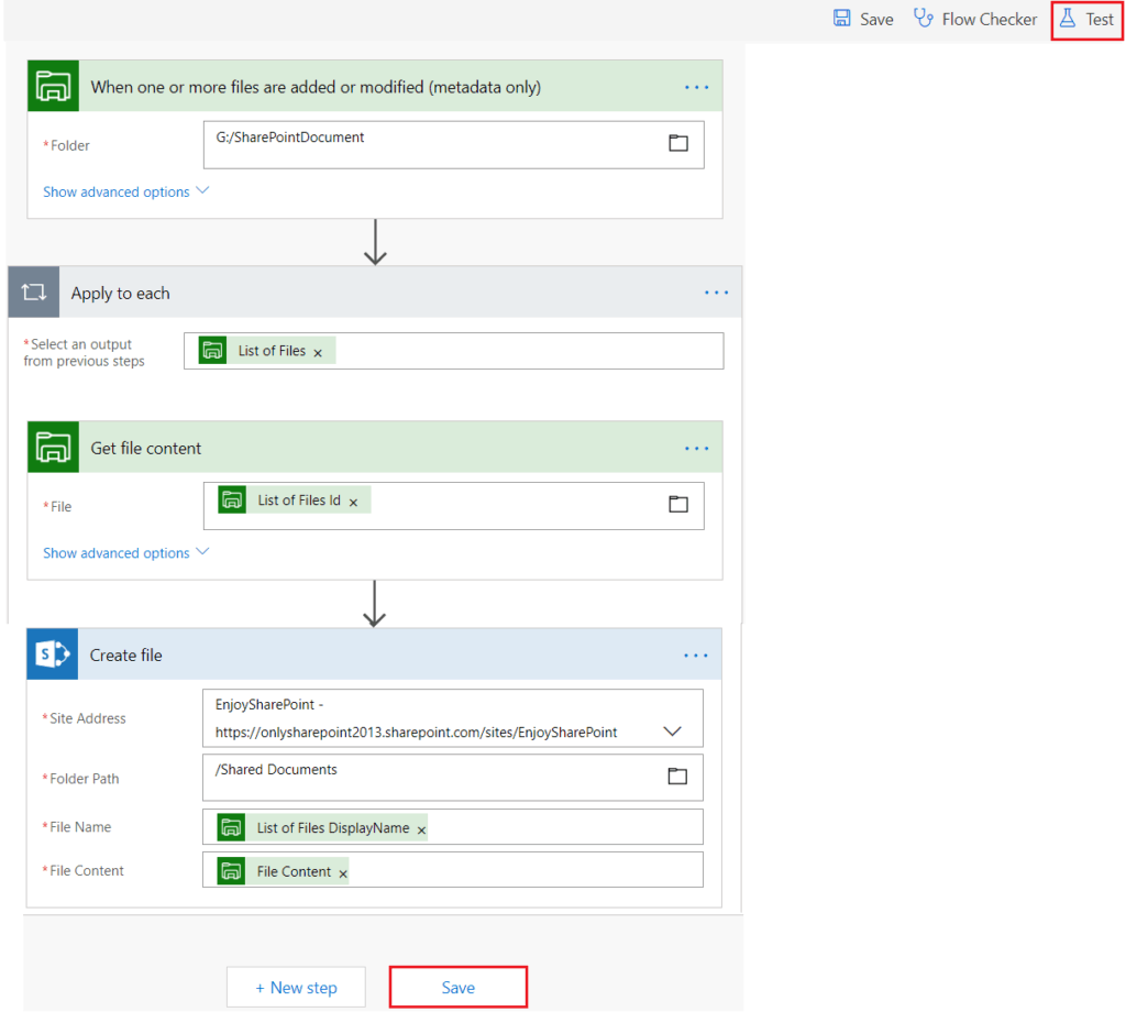 Copy new files from your PC to SharePoint flow