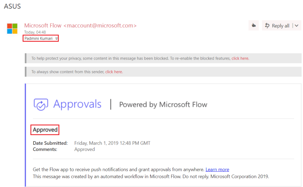 Flow When an item is created in SharePoint List, Send approval and create item