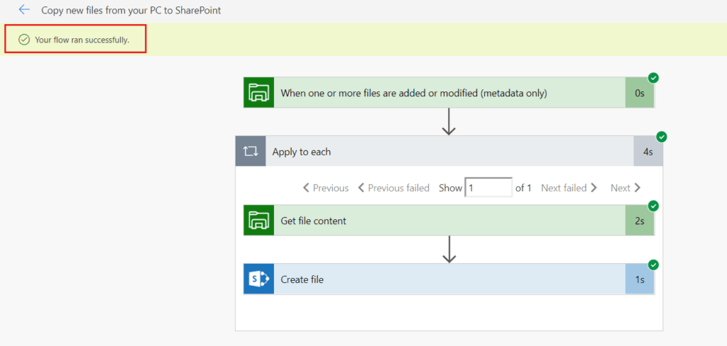 Microsoft flow Copy new files from PC to SharePoint