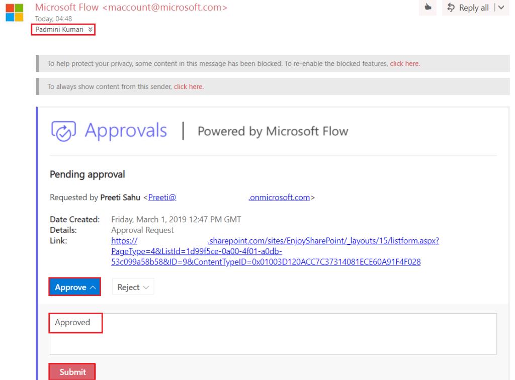 Microsoft flow Approval item