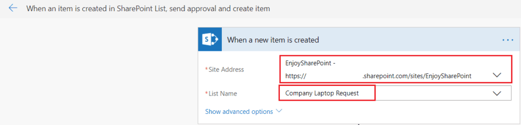 When an item is created SharePoint List, Send approval and create item