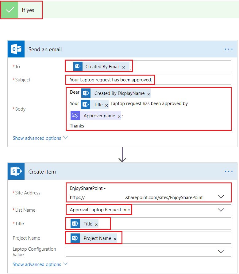 When an item is created SharePoint List, Send approval and create item in the microsoft flow