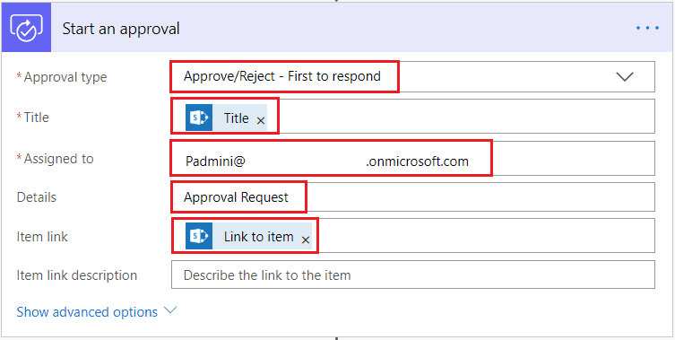 When an item is created in SharePoint List, Send approval and create item in flow