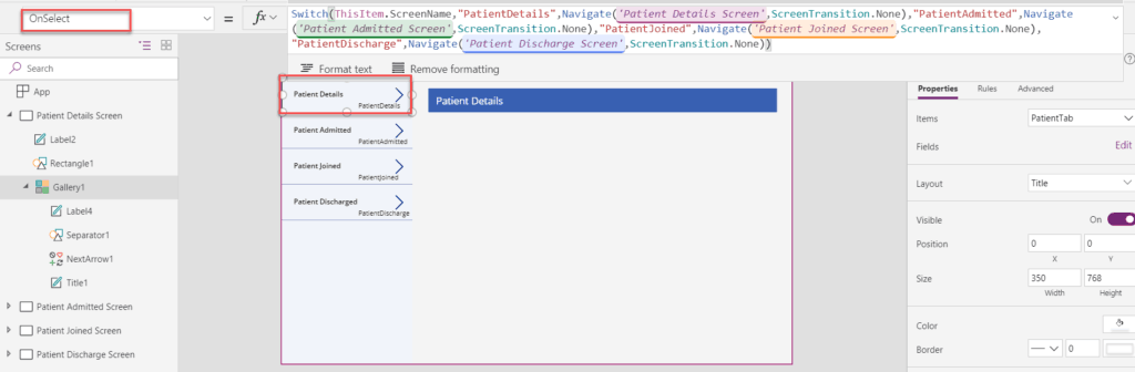 PowerApps: Create a navigation menu using the Gallery Control