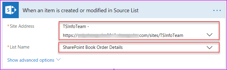 Microsoft Flow Copy items from Source Site List to Destination Site List