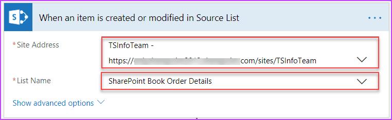 Microsoft Flow Copy items from Source Site List to Destination Site List