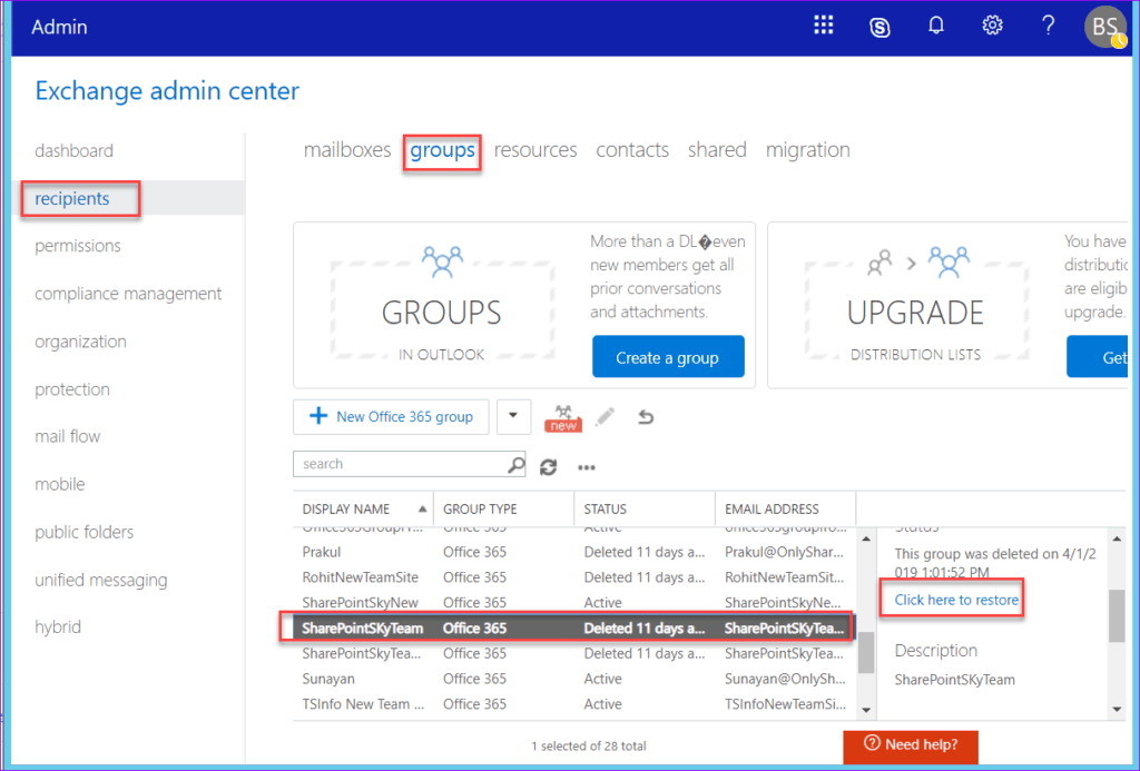Restore a deleted Office 365 Group