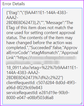 The ETag of this item does not match the one used for setting content approval status.