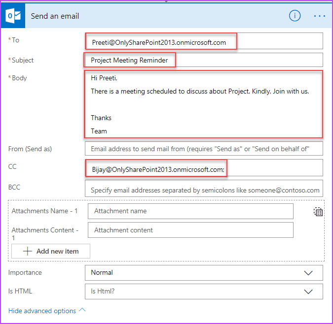microsoft flow send an email on a schedule