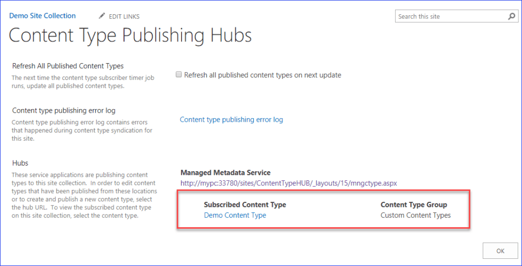 Create Content Type Hub in SharePoint